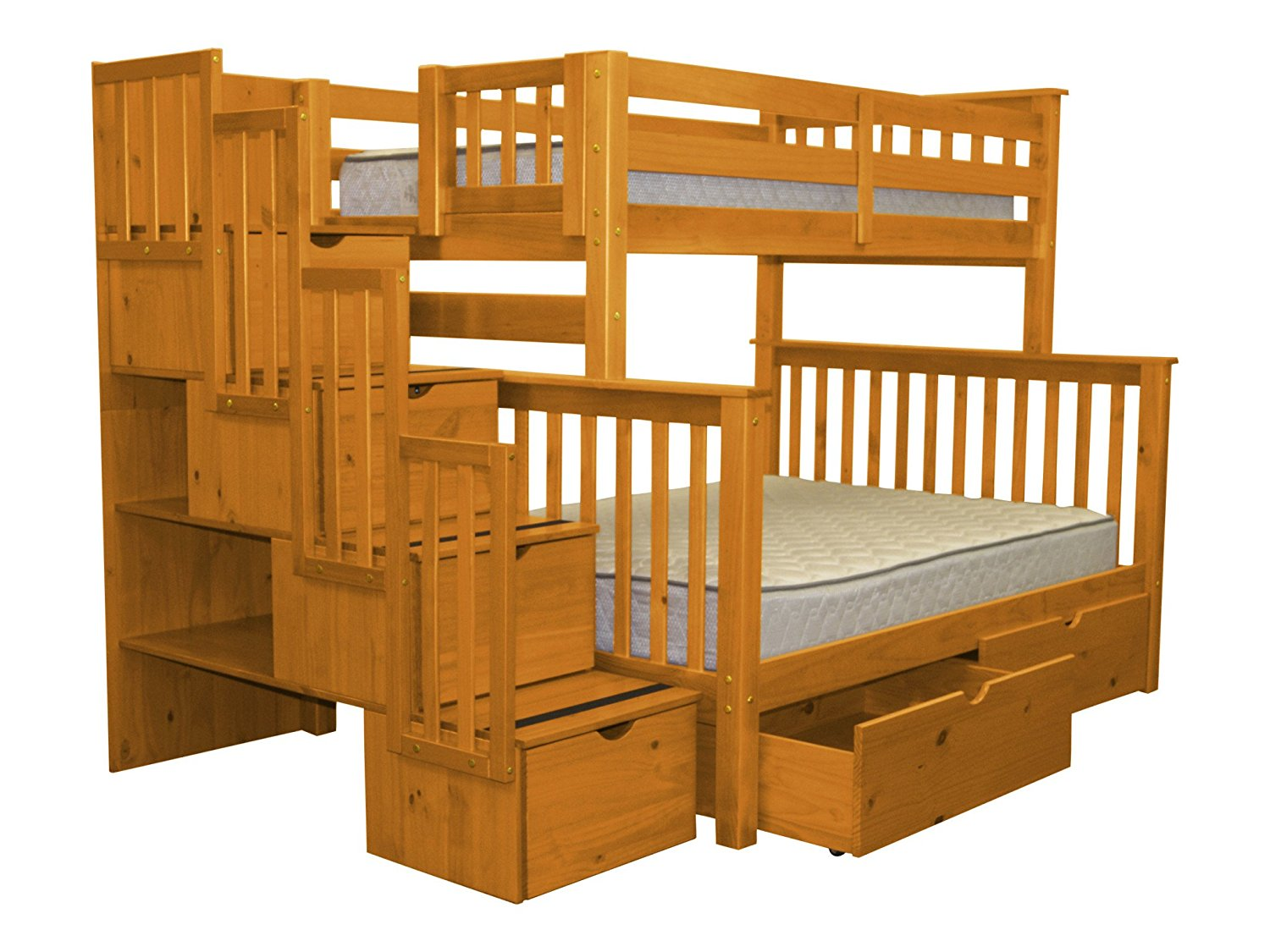 Bedz King Stairway Bunk Bed Twin over Full with 4 Drawers in the Steps and 2 Under Bed Drawers, Honey