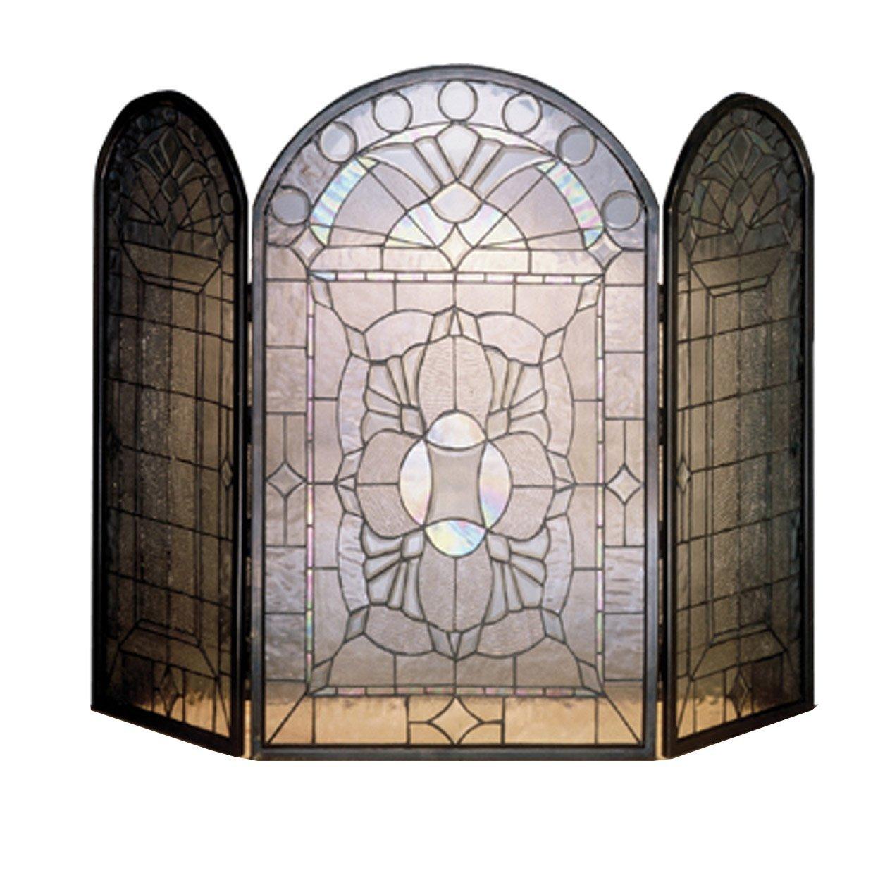 Beveled Glass Clear Folding Fireplace Screen
