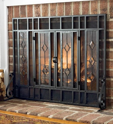Beveled Glass Diamond Fireplace Screen With Powder-Coated Tubular Steel Frame and Tool Set, in Black