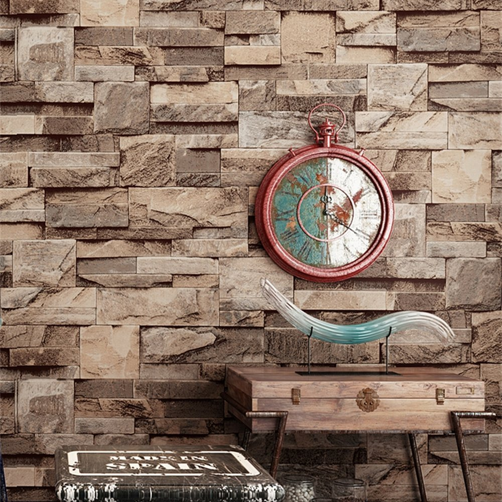 Blooming Wall 3d Faux Stone Brick Wall Mural Wallpaper for Bathroom Kitchen Livingroom Bedroom,Large Size,57 Square ft/roll,98201