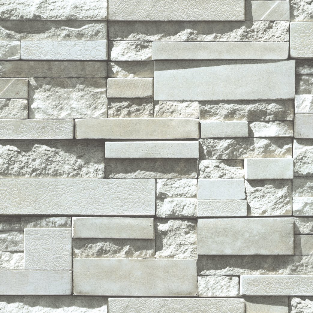 Blooming Wall: 3d Modern Cultural Brick Stone Waterproof Wallpaper Wall Paper Roll for Livingroom Bedroom, 20.8 In32.8 Ft=57 Sq.ft,light Gray