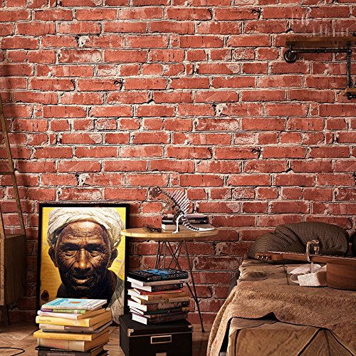 Blooming Wall Vintage Wallpaper Faux Rust Tuscan Red Blocky Brick Wall, Looks Real Up! Large Size 20.8 In32.8 Ft=57 Sq.ft