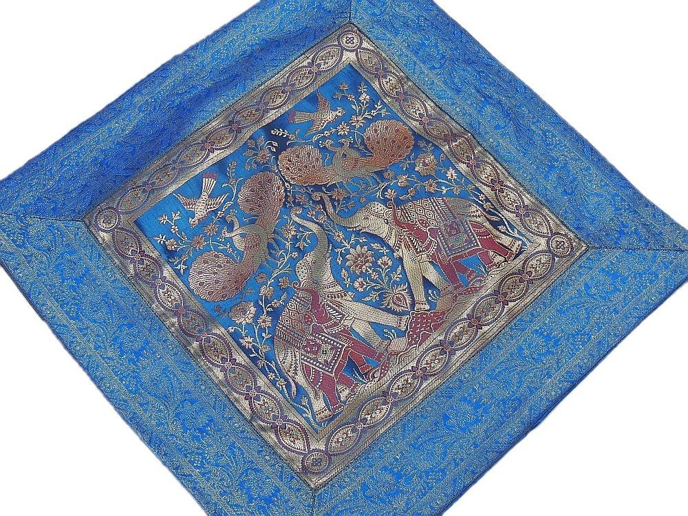 Blue Large Elephant Floor Cushion Cover - Gold Zari Handmade Square Lounge Seating Pillow - 23 Inch