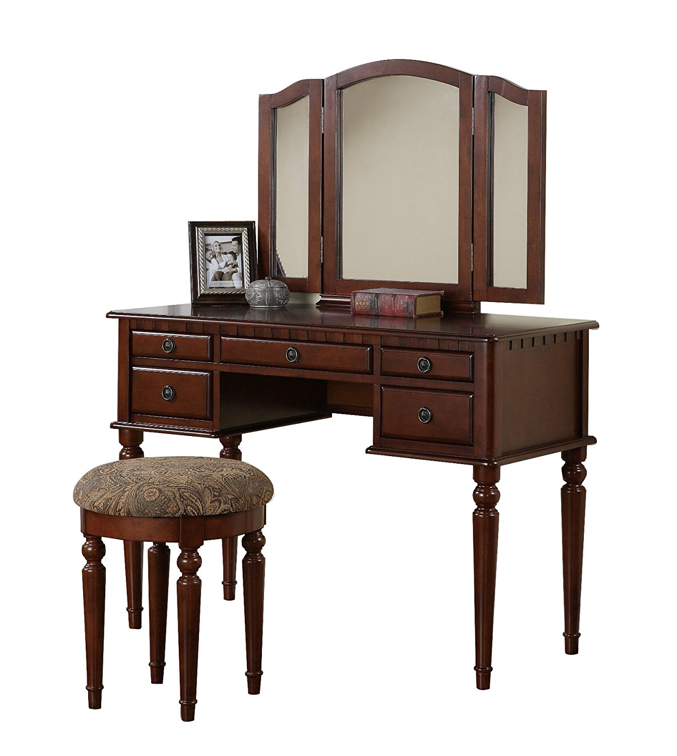 Bobkona St. Croix Collection Vanity Set with Stool, Cherry