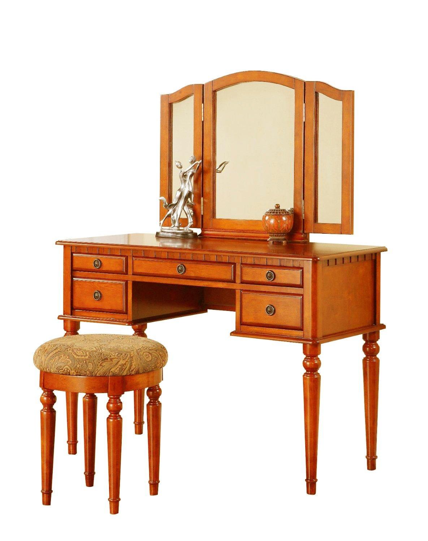 Bobkona St. Croix Collection Vanity Set with Stool, Walnut