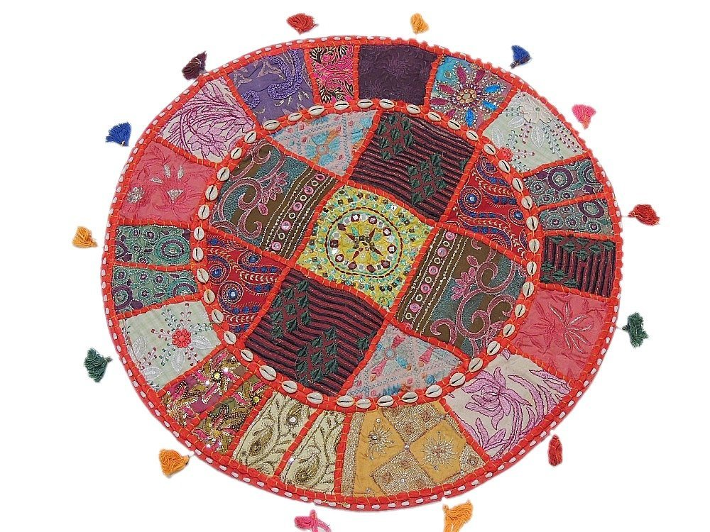 Bohemian Large Round Cowrie Shell Floor Seating Cushion Cover Decorative Indian Ethnic Handmade Pillowcase - 24 Inch