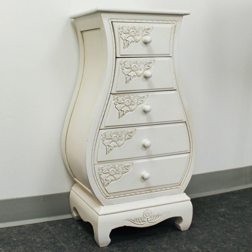 Carved Wood Five Drawer Bombay What Not