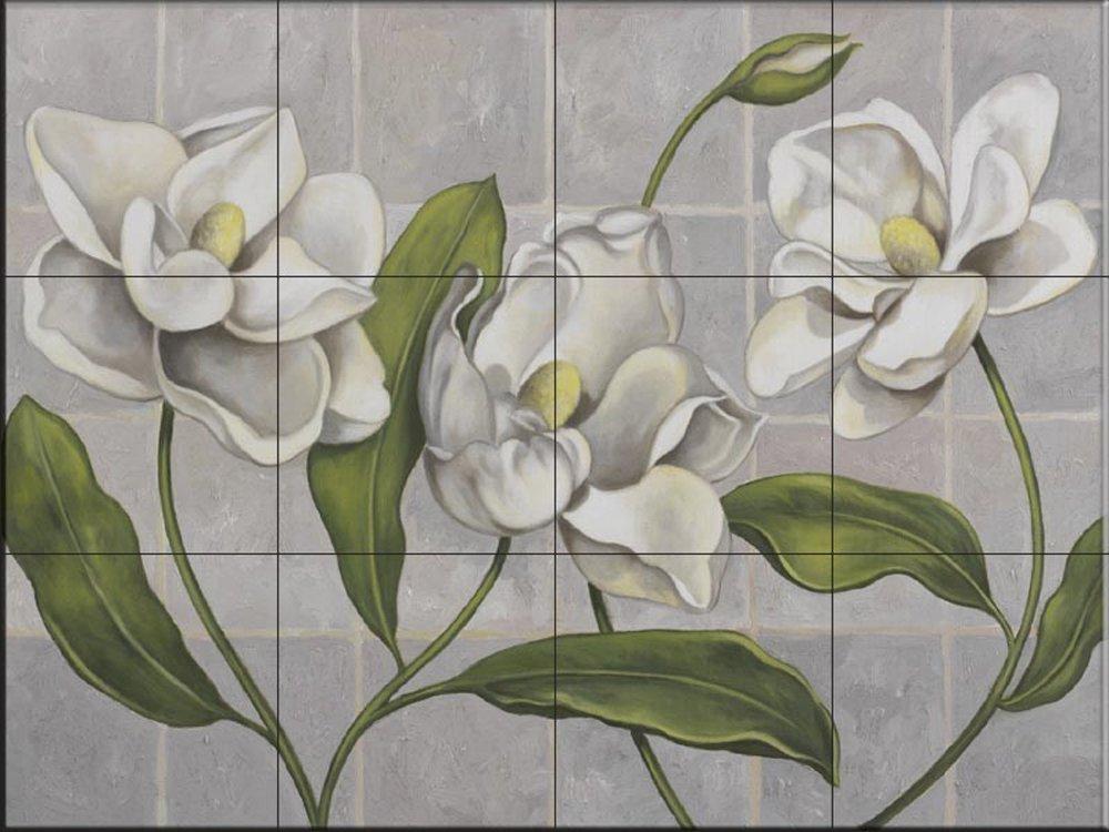 Ceramic Tile Mural - White Magnolia- by John Zaccheo - Kitchen backsplash / Bathroom shower