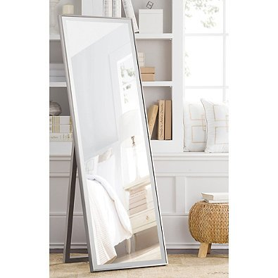Cheval Thin Profile Floor Standing Mirror in Silver | 59.5-Inch x 19-Inch