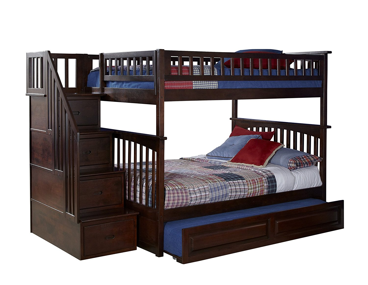 Columbia Staircase Bunk Bed with Trundle Bed, Full Over Full, Antique Walnut