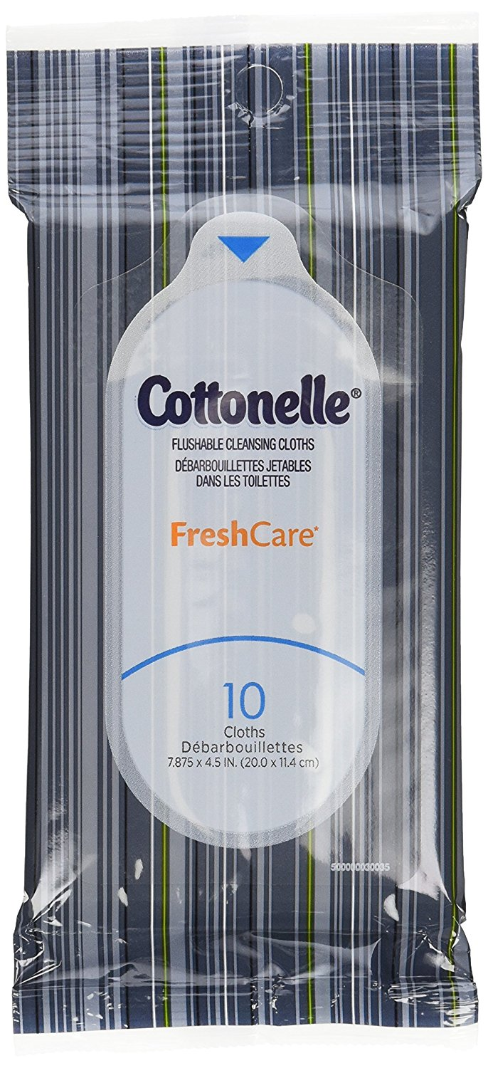 Cottonelle Fresh Care Flushable Wipes, Travel Pack, 12 Travel Packs of 10 Cloths Each (120Ct)