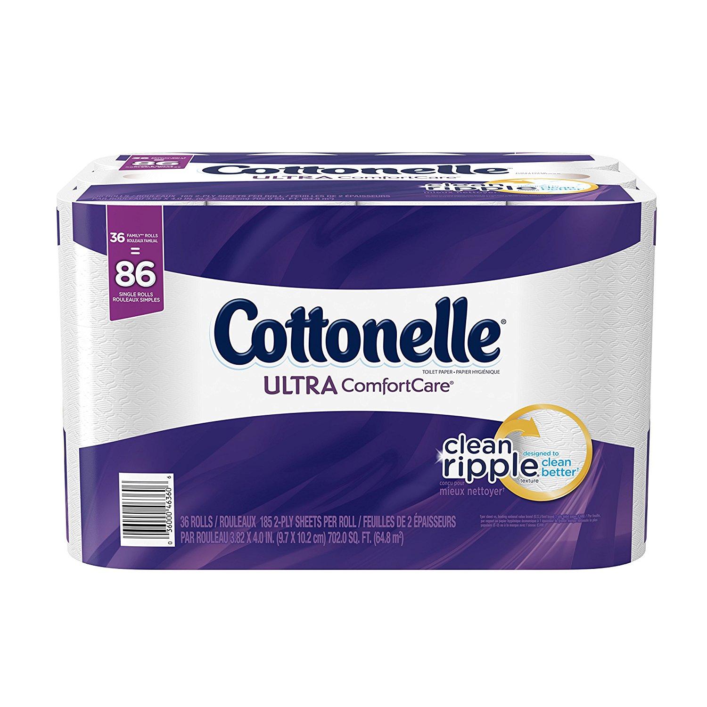 Cottonelle Ultra ComfortCare Toilet Paper, Bath Tissue, 36 Family Rolls