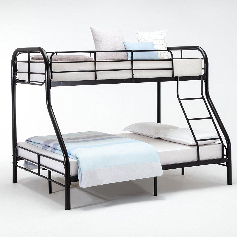 DFM Metal Twin over Full Bunk Beds Ladder, Kids/ Teens/ Adult Dorm Bedroom Furniture