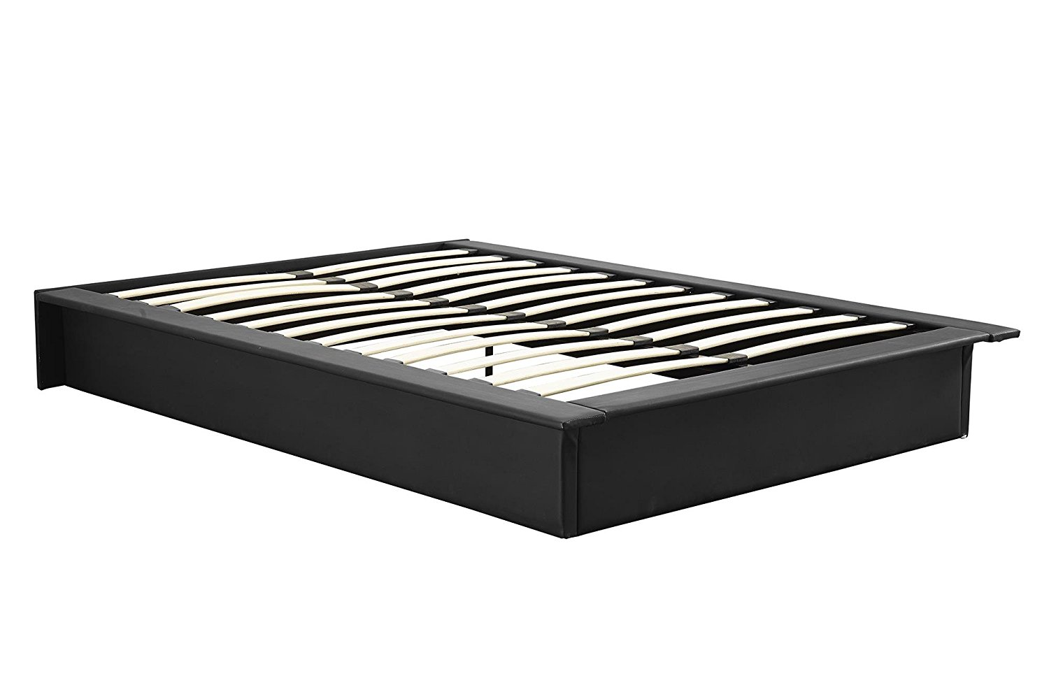 DHP Maven Upholstered Faux Leather Platform Bed, Queen, Black