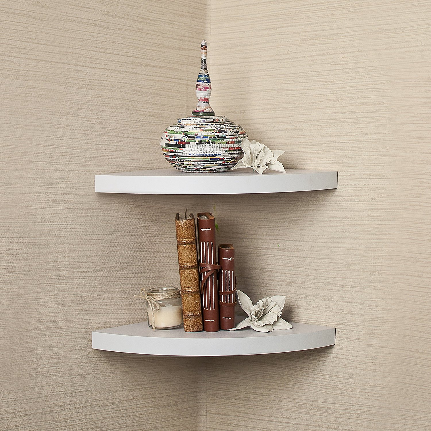 Danya B. White Laminate Large Radial Corner Wall Shelf Set of 2