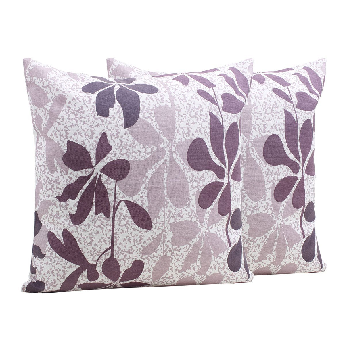 Decorative Throw Pillow Cushion Covers for Sofa 18 x 18 Set of 2 Cases 100% Cotton Floral Designed Home Bedding Accessories