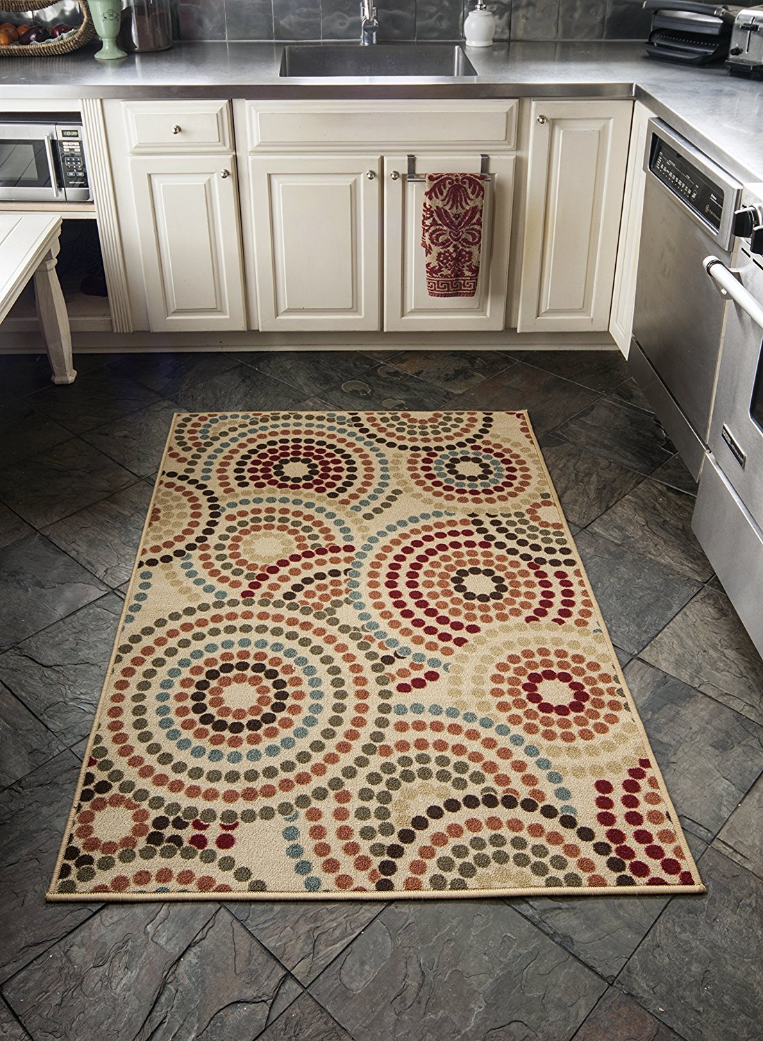 "Diagona Designs Contemporary Abstract Circles Design Modern Non-Slip Area Rug, 3'3"" W x 5'0"" L ,Beige"
