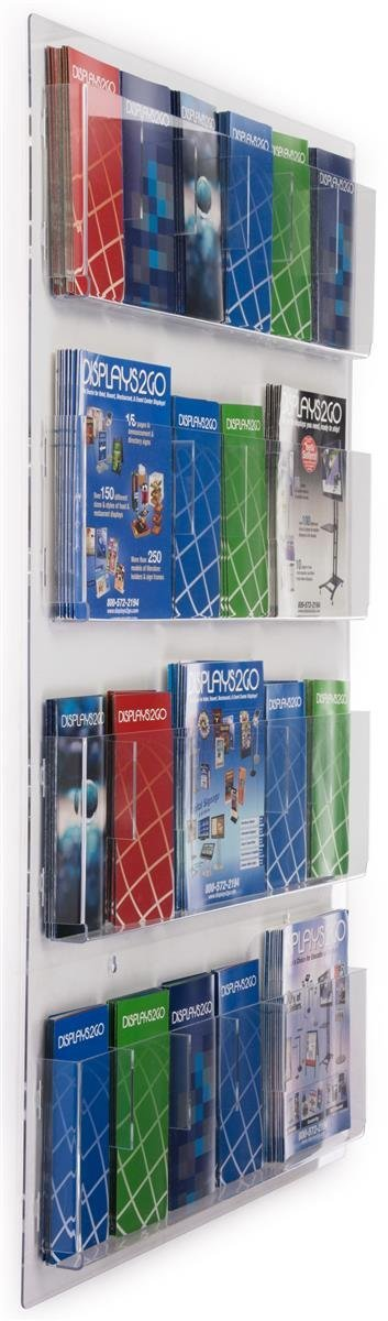 "Displays2go Hanging Literature Rack with Adjustable Pockets, 29x48 "", Clear Acrylic (RP12CLR)"