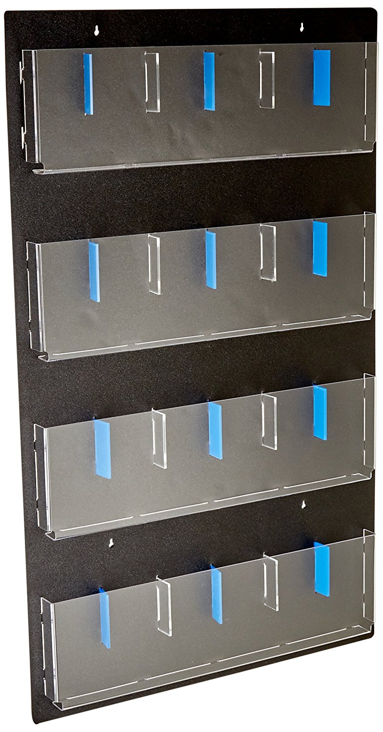 "Displays2go Hanging Magazine Rack with Adjustable Pockets, 29x48 "", Black Acrylic (RP12BLK)"