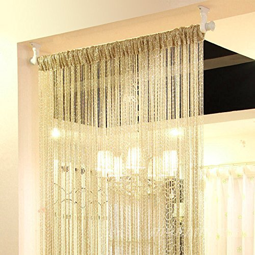 Eyotool 1x2 M Door String Curtain Rare Flat Silver Ribbon Thread Fringe Window Panel Room Divider Cute Strip Tassel for Wedding Coffee House Restaurant Parts, Champagne