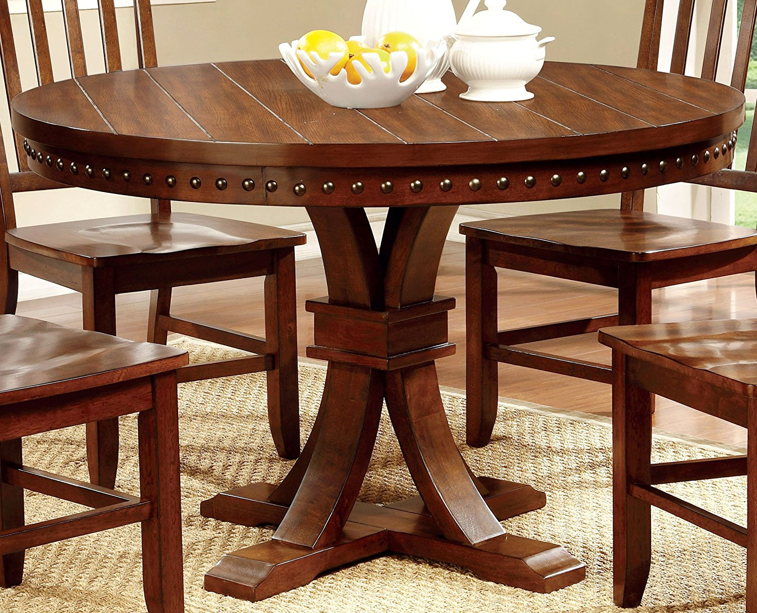 Furniture of America Castile Transitional Round Dining Table, Dark Oak