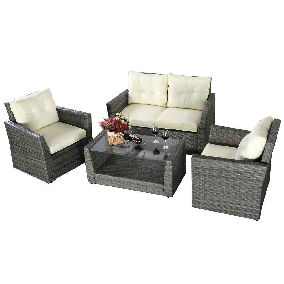 GHP 4 Pcs Gray Wicker Rattan Sofa Furniture Set Patio/Garden w Cushioned Seat