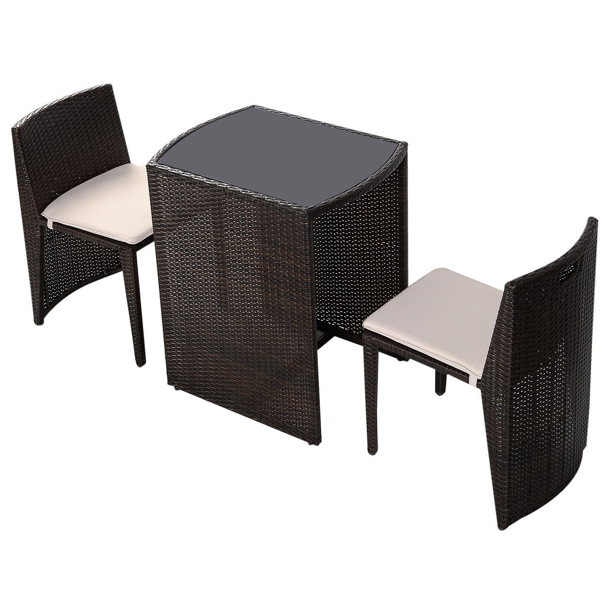 GHP Brown Wicker Cushioned Outdoor Garden Patio Chairs & Table Furniture Set