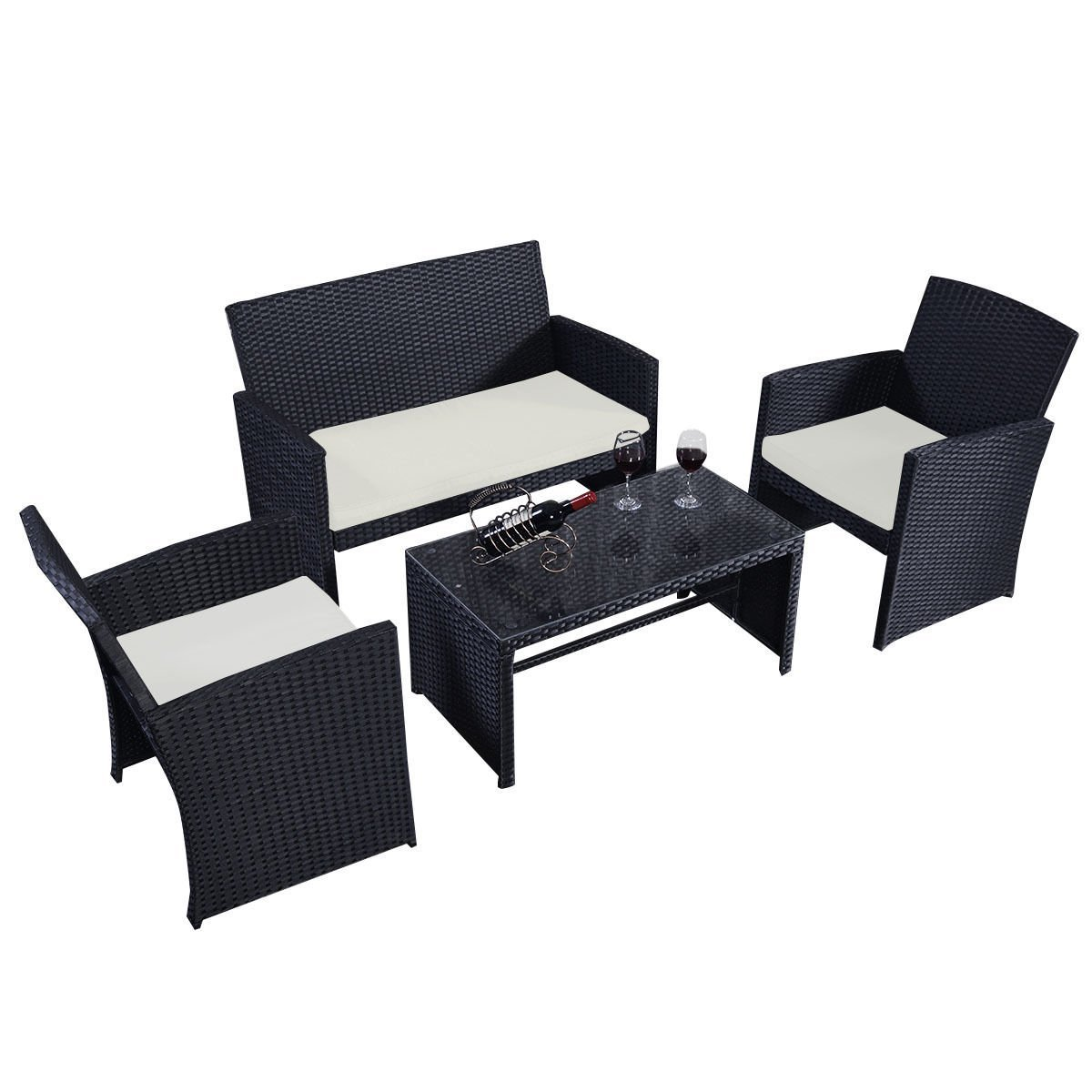 GHP GHP 4 Pcs Black Wicker Rattan Sofa Furniture Set Patio/Garden w Cushioned Seat