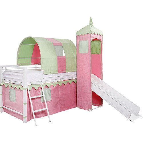 Girl's Princess Castle Tent Loft Bed with Slide & Under Bed Storage, White