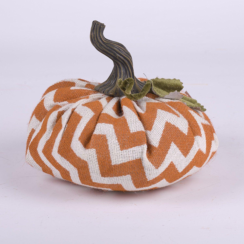 Glitzhome Medium Chevron Plush Burlap Pumpkin Decor
