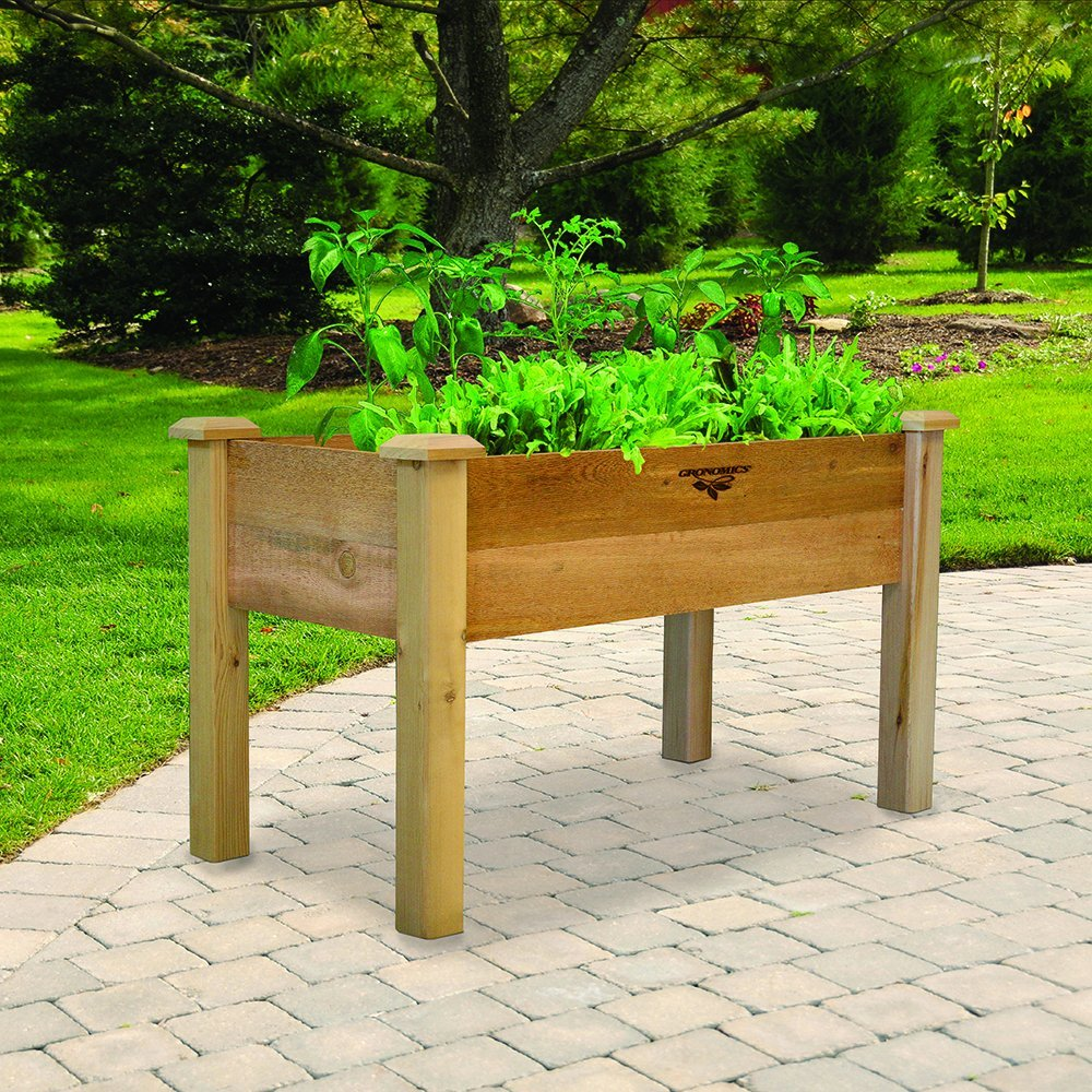 Gronomics REGB 24-48 24-Inch by 48-Inch by 30-Inch Rustic Elevated Garden Bed, Unfinished