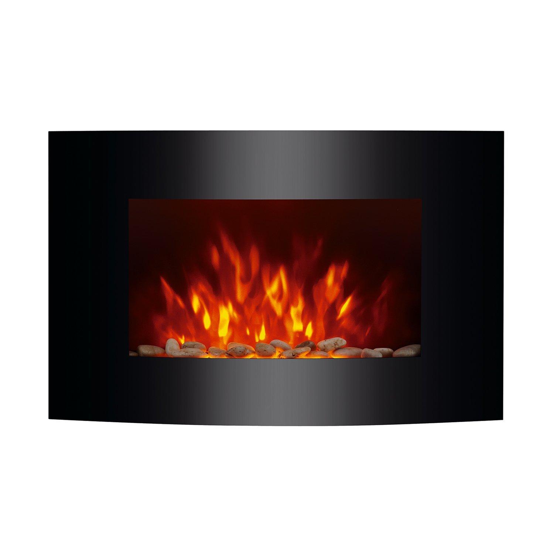 "HomCom 36"" 1500W Wall Mounted Electric Fireplace w/Remote - Black"