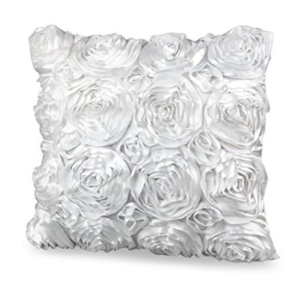 Homecube High Quality Satin Rose Flower Bed Sofa Square Pillow Cushion Pillowcase Case Cover Rose Flowers 16.5''x15.5'' Decorative (White)