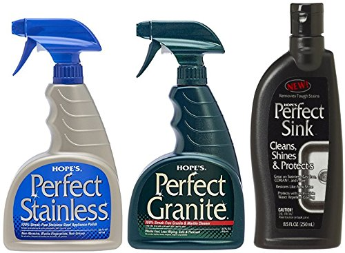Hope's Perfect Stainless Steel Polish 22-Ounce, Perfect Granite Cleaner 22-Ounce, & Perfect Sink - 8.5 oz Sink Cleaner and Polish