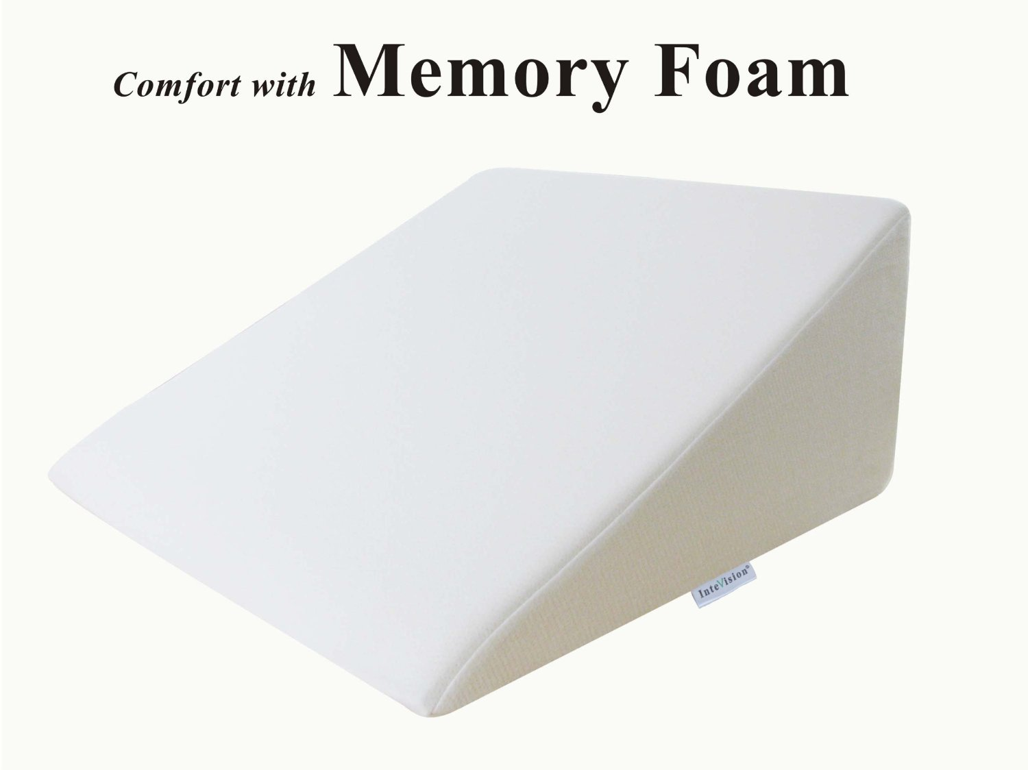 """InteVision Foam Wedge Bed Pillow (25"""" x 24"""" x 12"""") with High Quality, Removable Cover"""