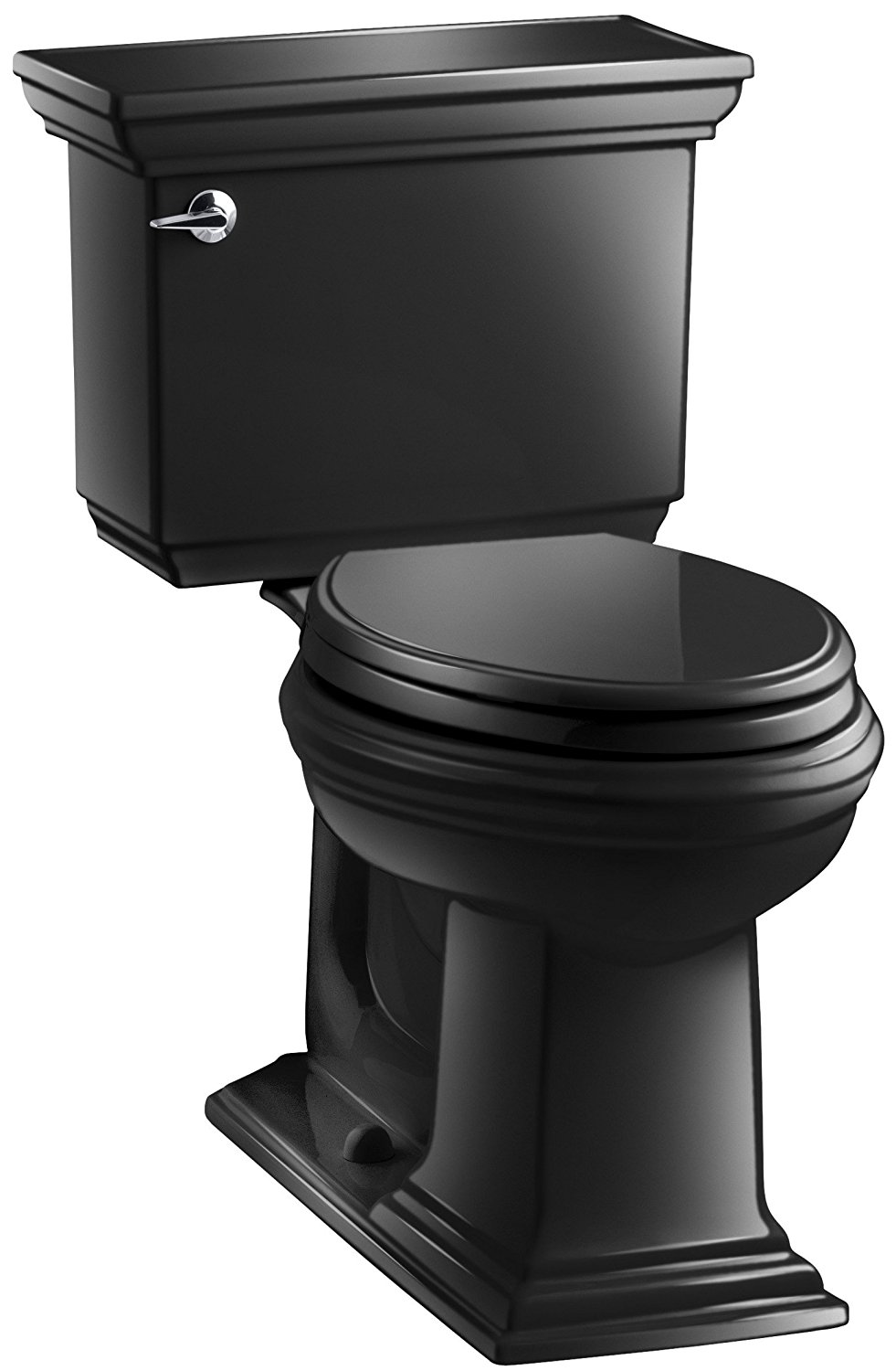 KOHLER K-3817-7 Memoirs Stately Comfort Height Two-Piece Elongated 1.28 GPF Toilet with AquaPiston Flush Technology and Left-Hand Trip Lever, Black Black