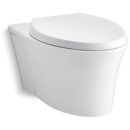 KOHLER K-6299-0 Veil Wall-Hung Elongated Toilet Bowl, White