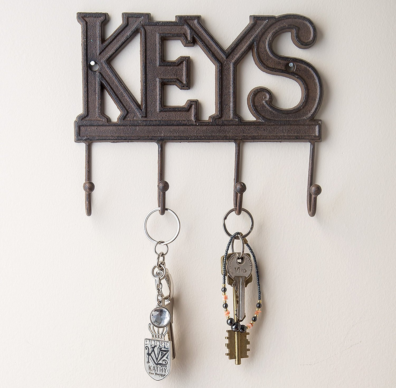Key Holder - Keys - Wall Mounted Key Hook - Rustic Western Cast Iron Key Hanger - Decorative Key Organizer Rack with 4 Hooks - With Screws and Anchors - 6x8 inches - by Comfify (Rust Brown)