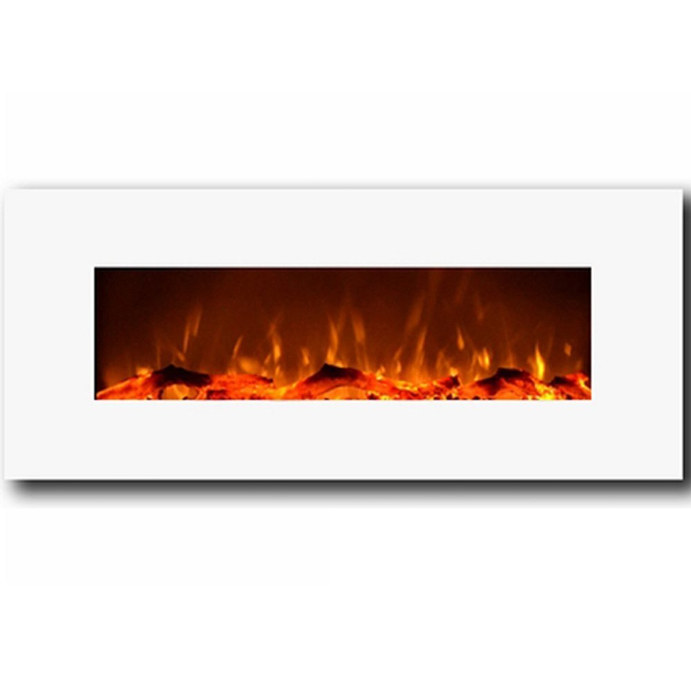 """MFE5050WH Houston 50"""" Electric Wall Mounted Fireplace - White"""