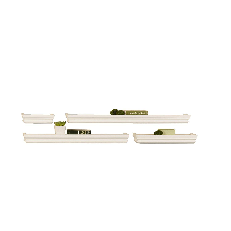 Melannco Wall Shelves, White (Set of 4)
