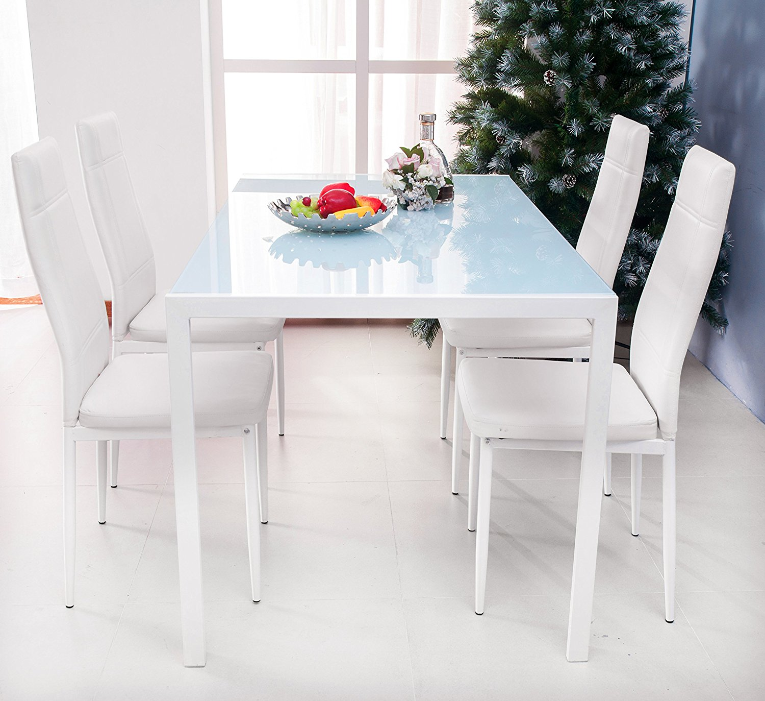 Merax 5-piece Dining Set Glass Top Metal Table 4 Person Table and Chairs (47 Inch, White)