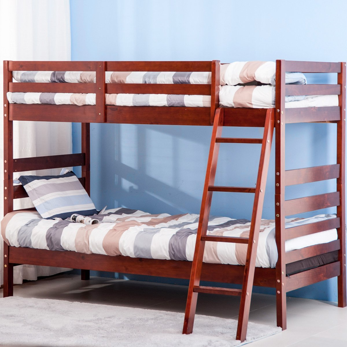 Merax Solid Wood Twin over Twin Bunk Bed (Cherry)