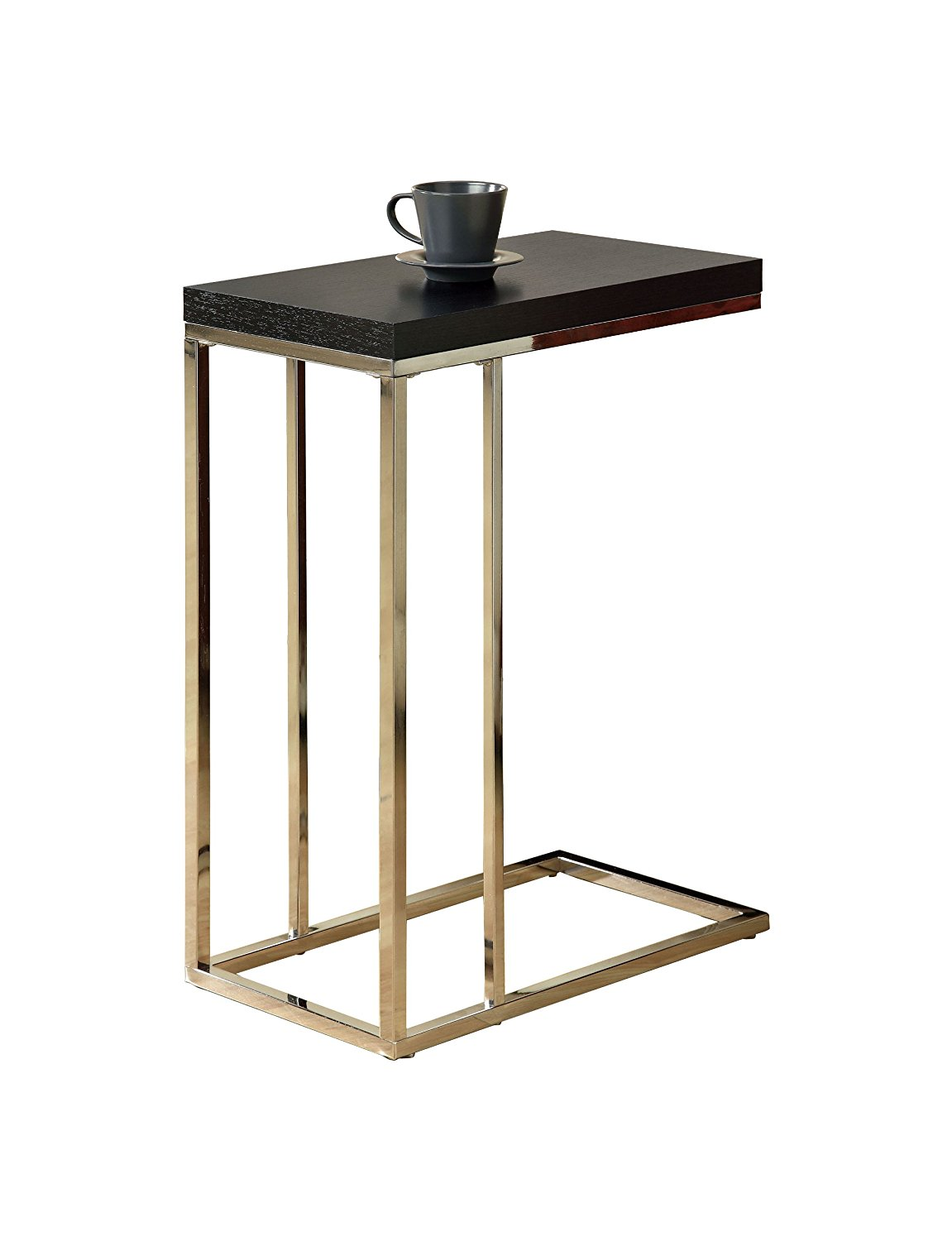 Monarch Specialties Chrome Metal and Cappuccino Hollow Core Accent Side Table