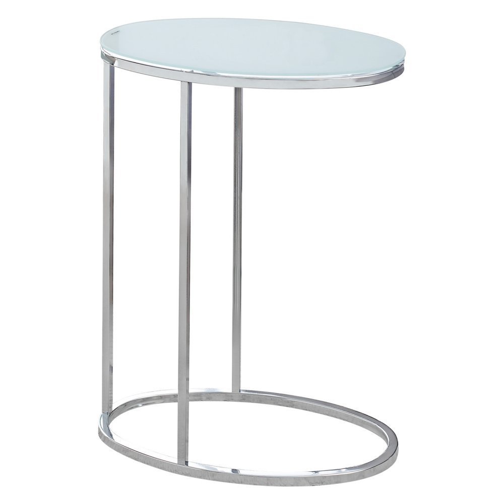 Monarch Specialties I 3240 Oval/Chrome/Frosted Tempered Glass Accent Table