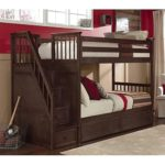 NE Kids School House Twin over Twin Stair Bunk Bed in Chocolate