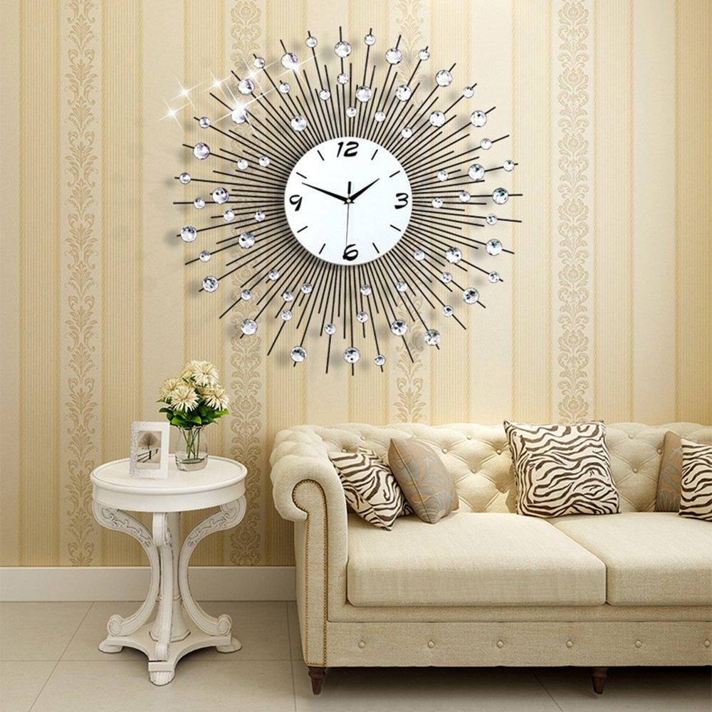 "NEOTEND 3D Wall Clock 64pcs Diamonds Decorative Clock Diameter 25.6"""