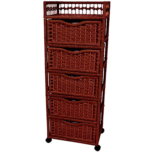 """Oriental Furniture 46"""" Natural Fiber Chest of Drawers on Wheels - Mahogany"""