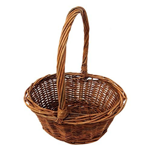 """Oval Shaped -SMALL- Willow Handwoven Easter Basket by Royal Imports 6""""x8"""" with braided rim - with Handle and Plastic Insert"""