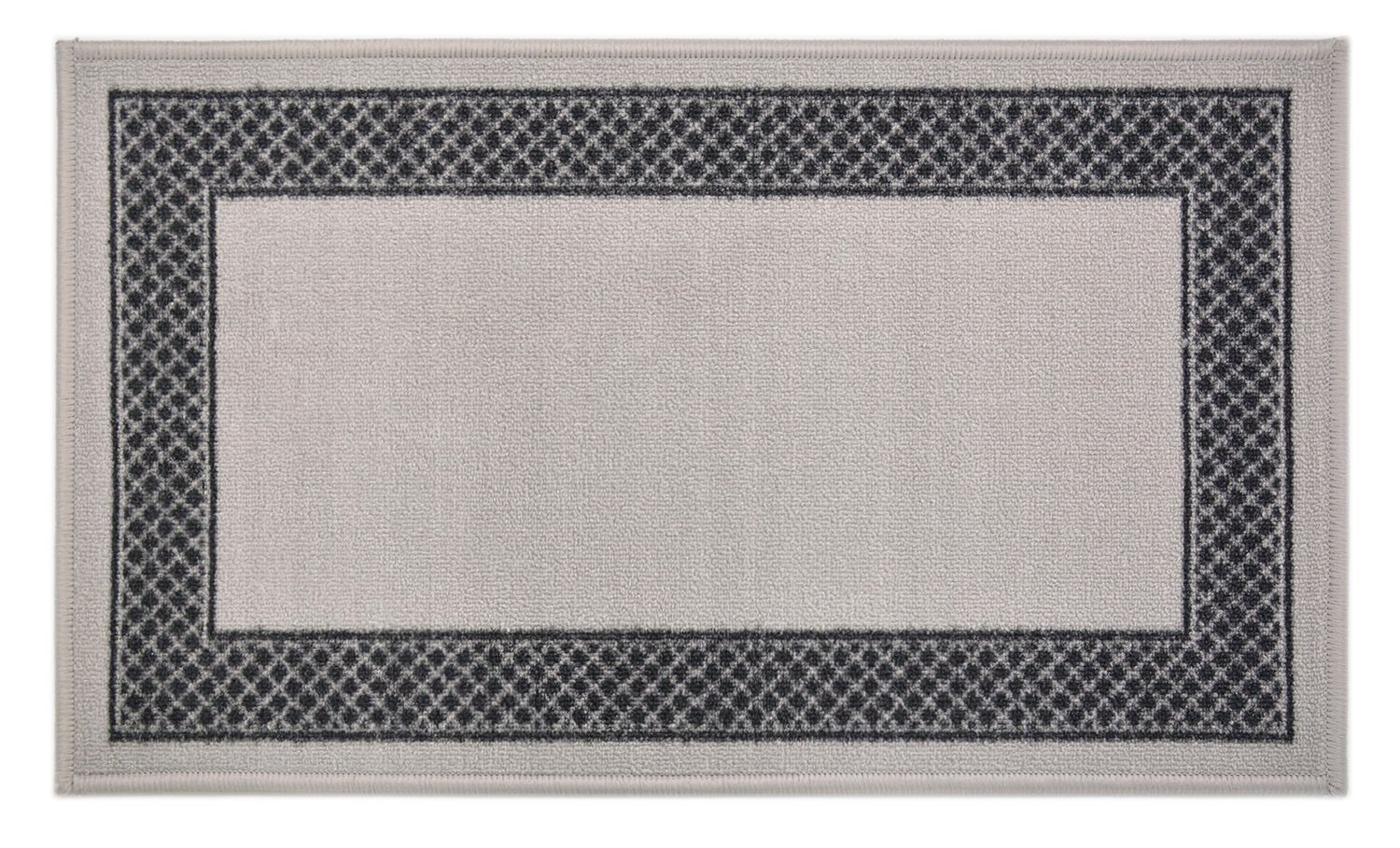 "Pinoletti Border Design Printed Slip Resistant Rubber Back Latex Runner Rug and Area Rugs (Grey Black, 18"" x 30"" Mat)"