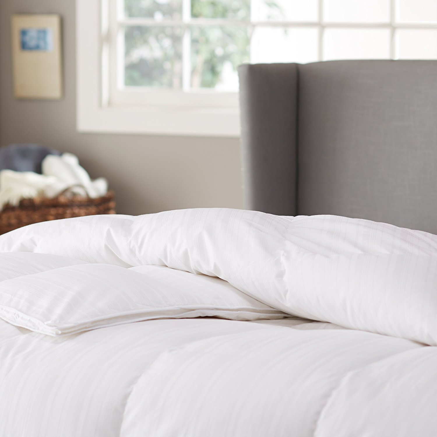 Pinzon Hypoallergenic White Goose Down Comforter - Medium Warmth, Twin